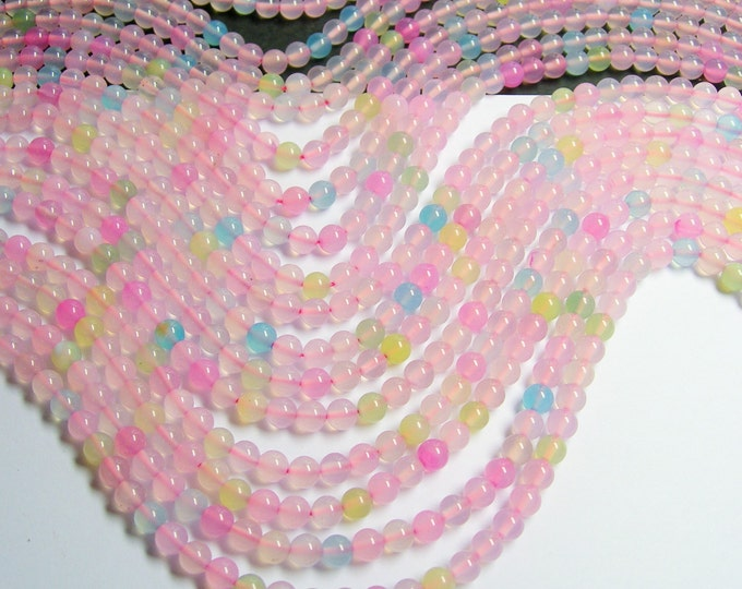 Agate multi color - 6 mm round beads - full strand - pastel  mix -  64 beads - WHOLESALE DEAL - RFG533