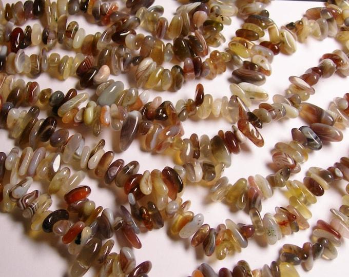 Botswana agate - bead - full strand - stick - rounded pebble - A quality - NRG84