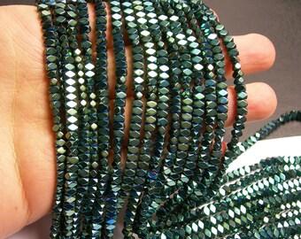 Hematite aqua green - 4.4mm faceted rectangle - full strand - 138 beads - AA quality - PHG166