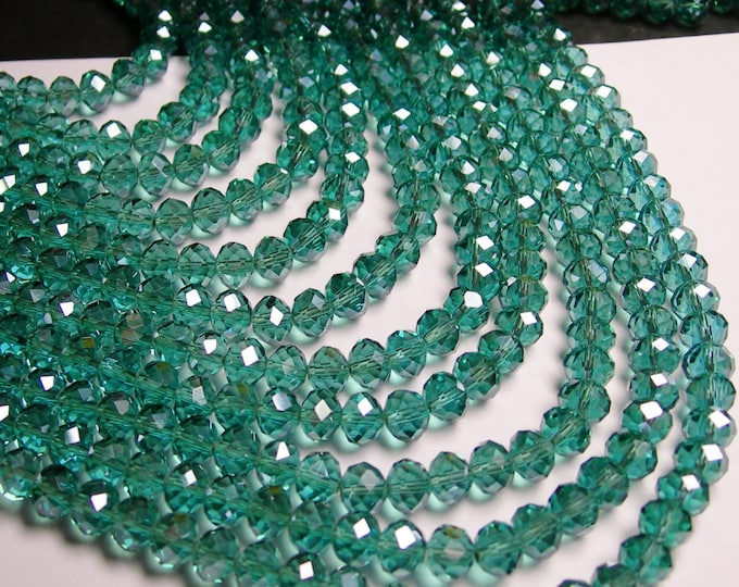 Crystal faceted rondelle - 72 pcs -  8 mm - AA quality - sparkle aqua - ab - full strand - GSH6