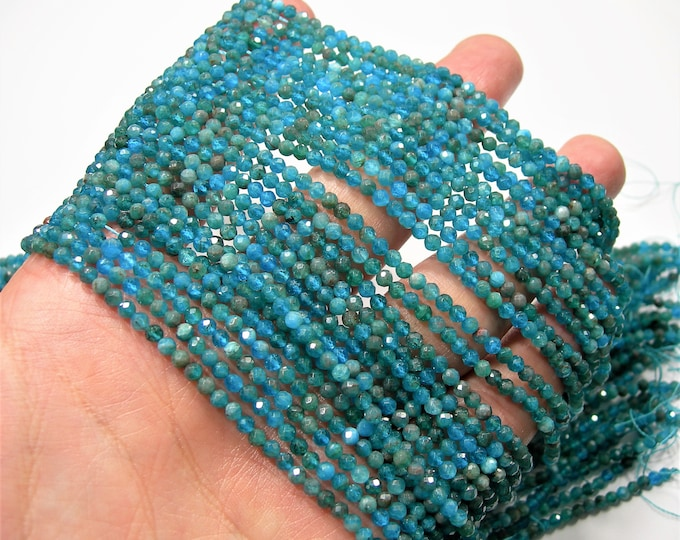 Apatite - 3mm micro faceted round beads - 131 beads - Full strand - Blue apatite  - PG243