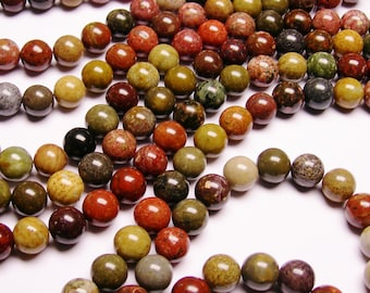 River Jasper - 12 mm round beads -1 full strand - 34 beads - RFG1027