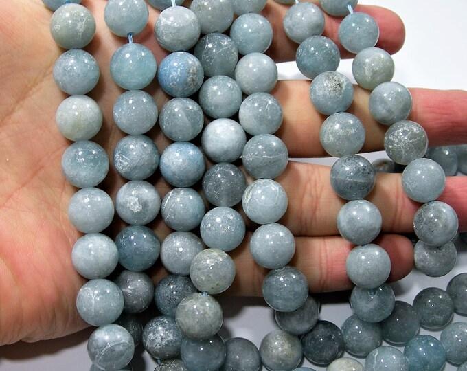 Aquamarine - 12mm round beads - Full strand - 33 beads - mix tone -  aquamarine - RFG1725