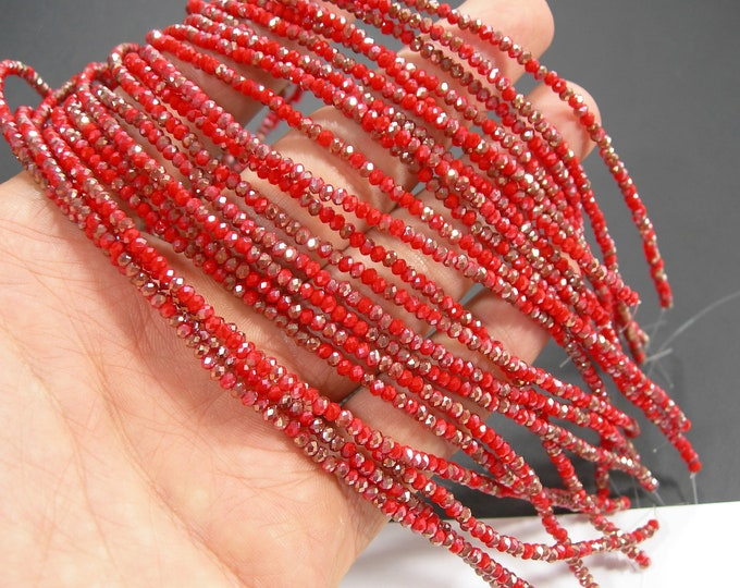 Crystal - rondelle faceted 3mm x 2mm beads - 193 beads - AA quality - Orange red dual tone ab - CAA2G248