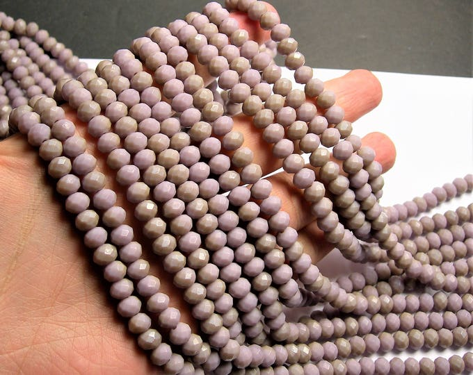 Crystal faceted rondelle - 72 pcs - 8 mm - AA quality - full strand - matte mauve  - GSH62