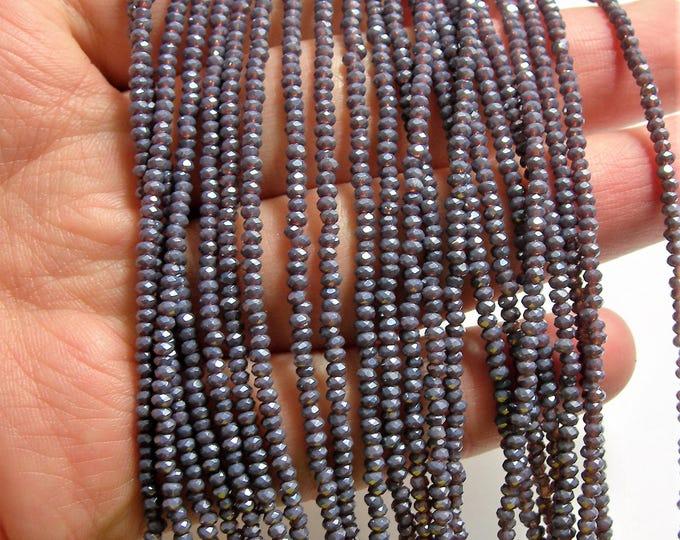 Crystal - rondelle  faceted 1mm x  2mm beads - 183 beads - translucent dark purple - full strand - VSC37
