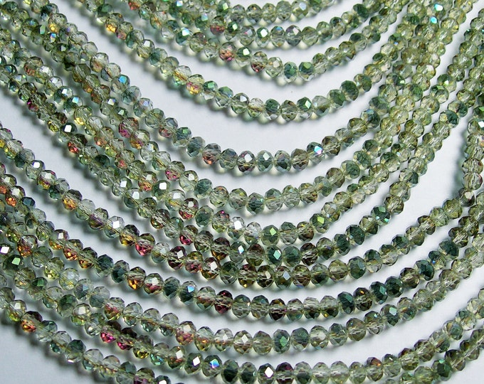 Crystal faceted rondelle - 150 pcs - 19 inch strand - 4 mm - AA quality - ab finish - sparkle watermelon - CRV55