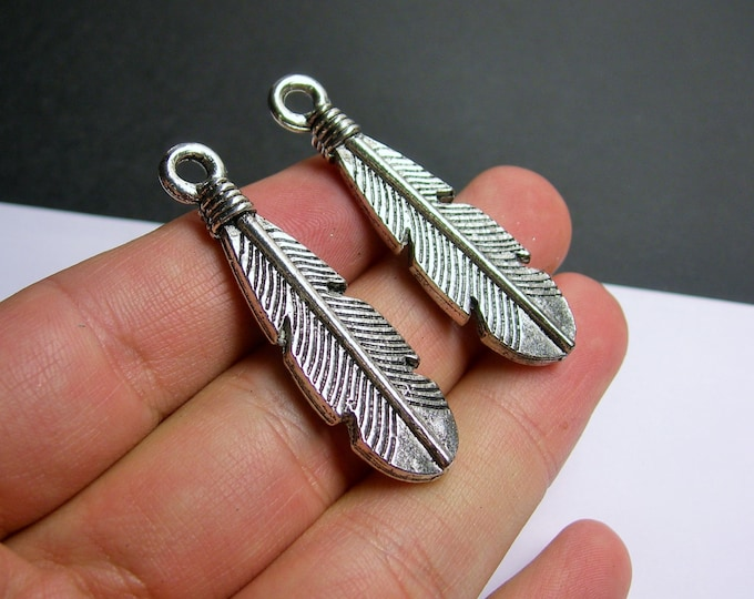 4 feather antique silver tone charms pendant - 4  pcs - 50 mm  -  ASA172