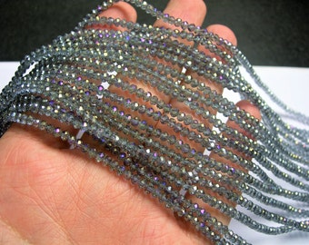 Crystal - rondelle faceted 3.5mm x 2.5mm - 147 beads - glacier grey ab - full strand - CRV168