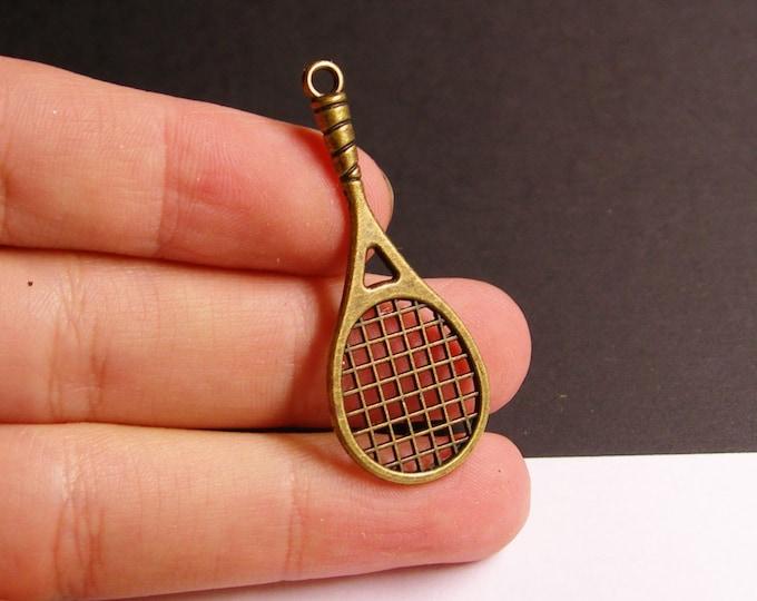 12 tennis racket charms - 12 pcs - brass - antique bronze -  48mm -  ZAB37