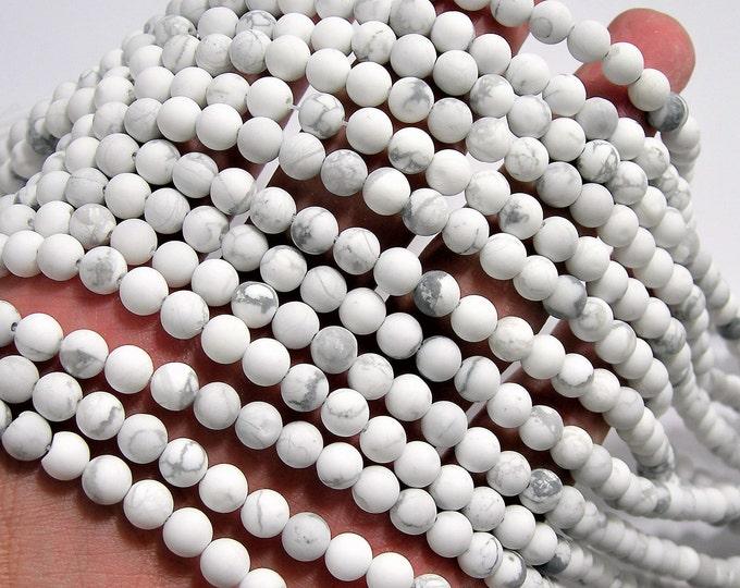 White Howlite turquoise Matte - 6 mm round beads -1 full strand - 64 beads - Matte - RFG515