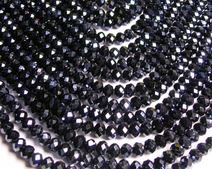 Crystal faceted rondelle - 69 pcs - 8 mm - A quality - full strand - Ab black  - GSH37