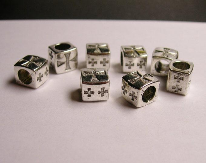 6 crosses square silver beads - 6 pcs  - big hole -  ASA75