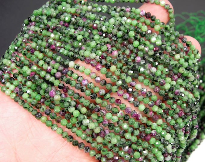Ruby Zoisite - 3mm faceted round beads -  full strand - 133 beads - Ruby Zoisite - Micro Faceted - A Quality - PG283