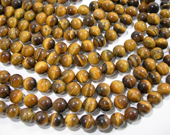 Tiger eyes - 12 mm round beads - full strand - 33 beads - RFG1926
