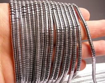 Hematite silver - 4mm heishi beads - full strand -190 beads - AA quality - 4x2 - PHG65