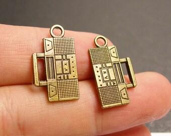 24 cassette player charms - 24 pcs - antique bronze cassette player charms -  BAZ70