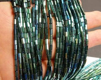 Hematite green - 5mm tube hexagon beads -1 full strand - 82 beads - AA quality - PHG51
