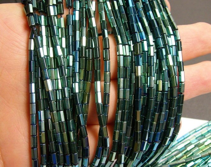 Hematite green - 5mm tube hexagon beads -1 full strand - 82 beads - AA quality - PHG51