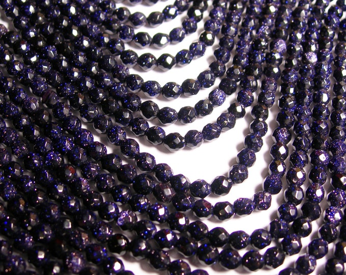 Blue goldstone - 4mm faceted round beads - full strand - 99 beads - A quality - RFG1161