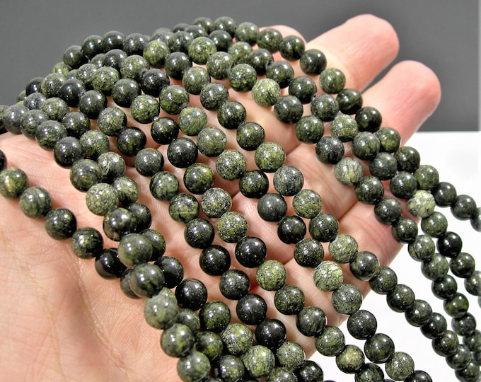 Russian Serpentine - 6mm(6.4mm) round beads - full strand - 61 beads - WHOLESALE DEAL - RFG1837A