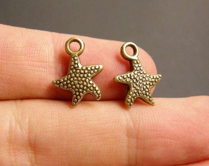 Star charms - 50 pcs - antique bronze brass star charms -  BAZ64