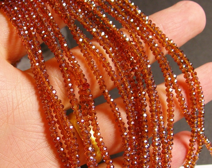 Crystal - rondelle  faceted 3mm x 2mm beads - 200 beads  - AA quality - dark amber brown  - ab finish - full strand - CAA2G46