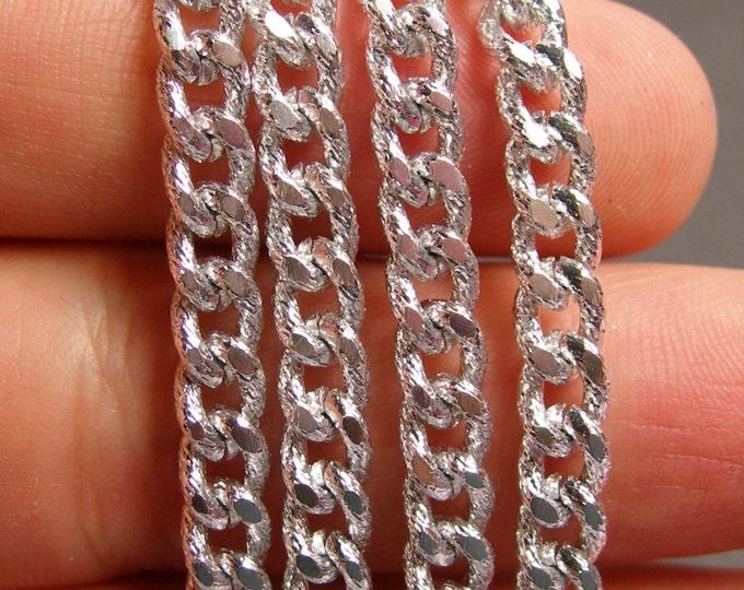Sliver chain - silver curb chain - 1 meter - 3.3 feet - aluminum chain - textured -  NTAC71