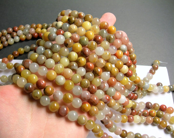 Quartzite - 10mm round  A quality  - 40  beads - full strand - Mix tone natural quartzite - Three color jade - RFG1406