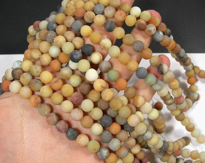 Yellow Amazonite matte - 8mm(8.3mm) round beads - full strand - 47 beads - yellow mix amazonite - RFG1921
