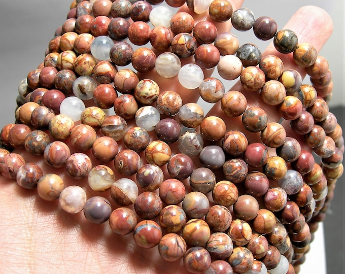 Gold Mountain Butterfly Agate - 8mm round  -  48 beads - full strand strand - Gold Mountain Agate - RFG1526