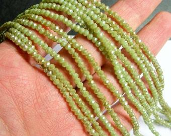Crystal - rondelle faceted 3.5mm x 2.5mm beads - 145 beads - light khaki - full strand - CRV73