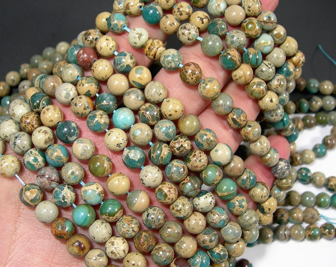 Impression Jasper - 8mm (7.9mm) round beads - full strand - 50 beads - A quality - RFG1944