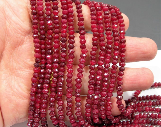 Ruby Jade 2mmx4mm (2.7mmx4.4mm) faceted rondelle beads - full strand - 120 beads - Color jade - RFG2219