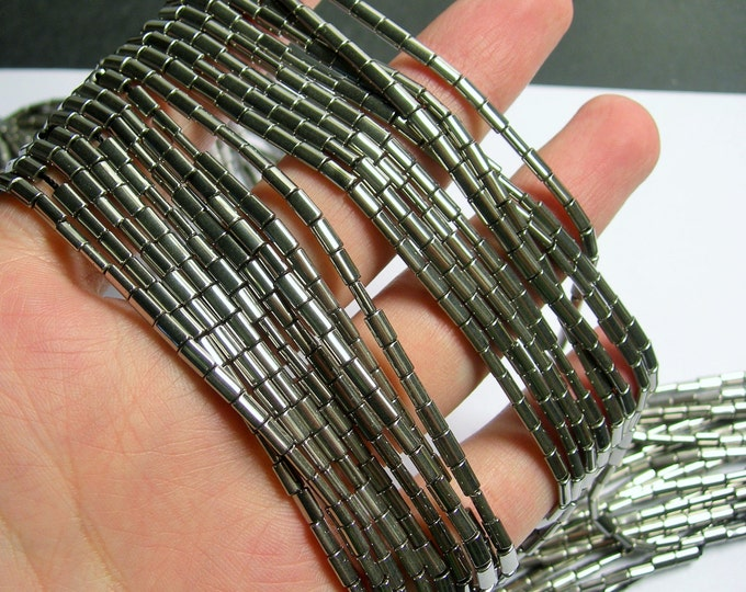 Hematite Silver - 5mm flat tube beads - 1 full strand - 80 beads - AA quality - PHG192
