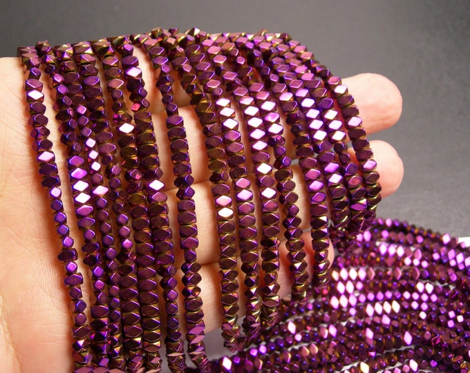 Hematite purple - 4.4mm faceted rectangle - full strand - 138 beads - AA quality - PHG167