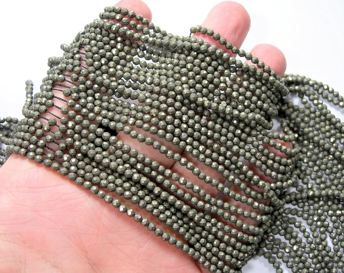 Pyrite 3mm(2.7mm) - faceted round beads -  full strand - 142 beads - Pyrite - micro faceted - PG349