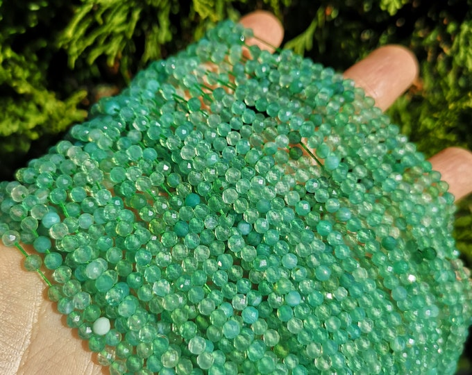 Green agate - 4mm(3.7mm) faceted round beads -  full strand - 104 beads - Micro Faceted - PG393