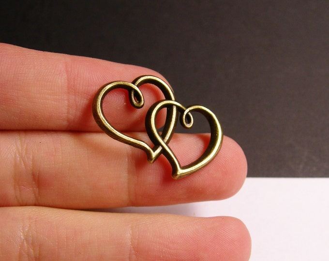 6 heart charms - 6 pcs - brass - antique bronze -  double heart -  ZAB38