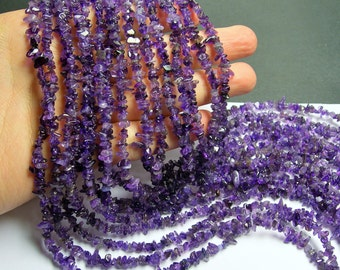 Amethyst chips stone beads  -1 full strand - 36 inch - small chip - A quality -  PSC87