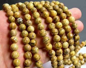 Picture Jasper - 8 mm round beads -1 full strand - 49 beads - RFG792