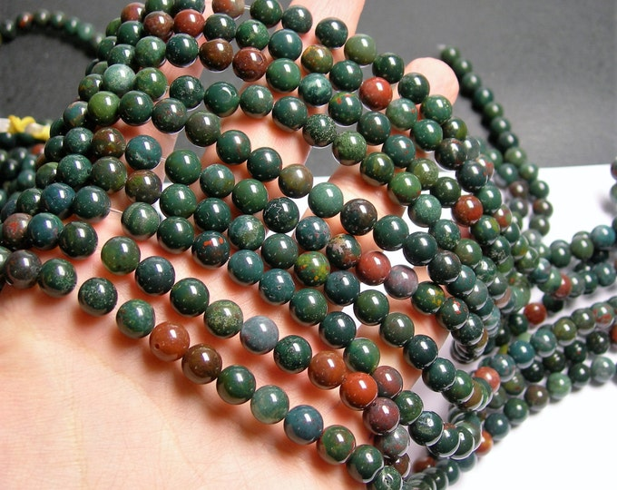 Bloodstone - 8mm round beads - 1 full strand - 48 beads - A quality - RFG196