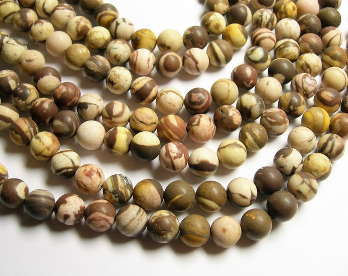Australian zebra jasper Matte - 10 mm round beads - full strand - 37 beads - Brown zebra jasper matte - RFG1047