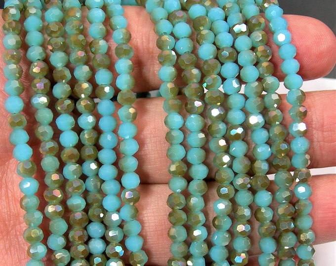 Crystal - round faceted 4mm beads - 98 beads - dual tone dark aqua ab - Full strand - RFG1974