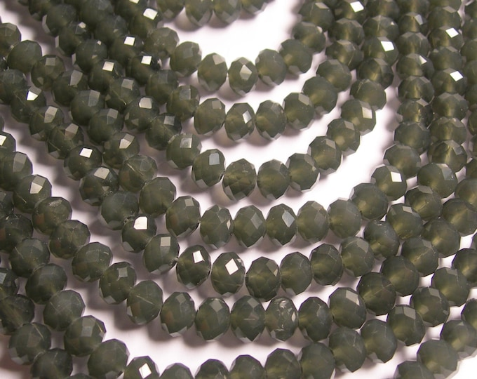 Crystal faceted rondelle - 68 pcs - 8 mm - A quality - full strand - dark  grey - GSH59