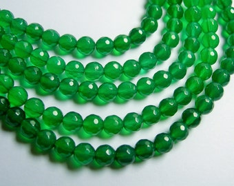 Green agate - 6mm  faceted round beads -  full strand - 67 beads - A quality - RFG756
