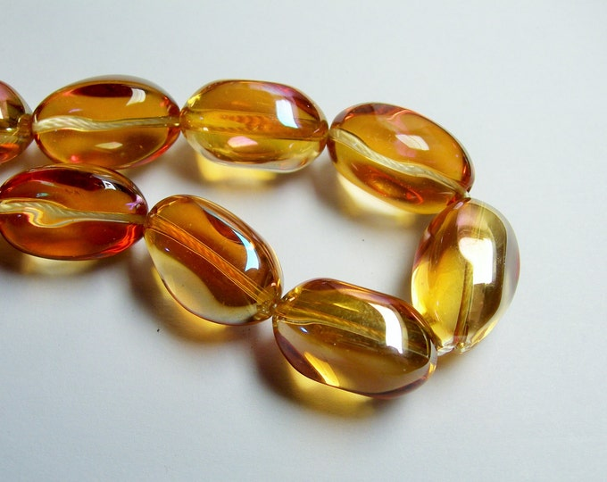 Crystal nugget - 15 pcs - 20mm x 13mm - Orange topaz ab - CRV38