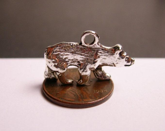 12 bear silver tone charm - 12pcs - 3d -  ASA89