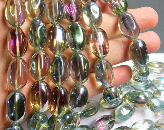 Crystal nugget - 15 pcs - 20mm x 13mm - mystic watermelon aura - ab  - CRV36