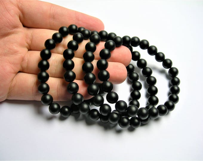 Black onyx matte - 8mm round beads - 23 beads - 1 set - A quality - HSG85